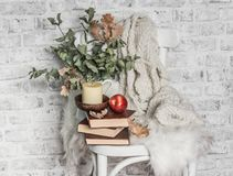 Free Home Cozy Still Life - An Old Vintage Chair, Stack Of Books, Knitted Plaid, Candle, Apple Fruit. Hobby, Leisure, Comfort Concept. Stock Photo - 161931660