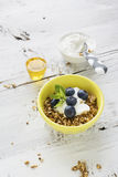 Home crispy golden granola mixture of flakes and nuts. On a baking sheet from the oven with yogurt and fresh blueberries. The concept of pure healthy organic Royalty Free Stock Photos