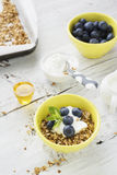 Home crispy golden granola mixture of flakes and nuts. On a baking sheet from the oven with yogurt and fresh blueberries. The concept of pure healthy organic Royalty Free Stock Photo