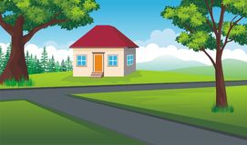 Cartoon Landscape, home at a crossroads. Home at a crossroads with beautiful Cartoon Landscape, trees, grass, and other ornament Royalty Free Stock Image