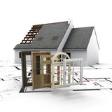 Home customization. A house under construction, with blueprints and a selection of windows and doors Stock Image