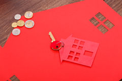 Home cutout with keys. Stock Image
