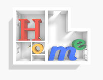 Home 3d apartment. 3d rendering of 'Home' word inside 3d plan apartment Royalty Free Stock Photo