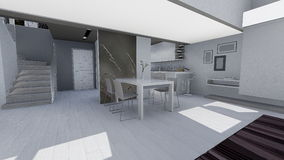 Home 3d design. 3d design of modern home appartment indoor Stock Photo