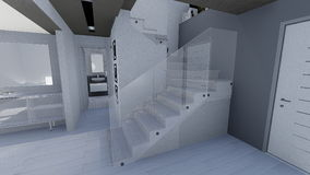 Home 3d design. 3d design of modern home appartment indoor Stock Photography