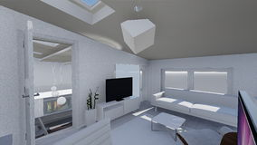 Home 3d design. 3d design of modern home appartment indoor Royalty Free Stock Photography