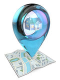 Home. 3D render of a Map with Blue Glass GPS Pointer containing a House Stock Photo