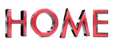 Home 3d word. The home word 3d rendered red and gray metallic color , isolated on white background vector illustration