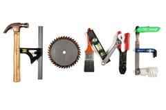 A HOME da palavra feita das ferramentas Fotografia de Stock Royalty Free