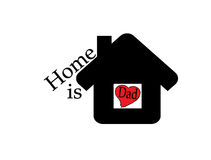 Home is dad. Inside black home on white Background Stock Photos