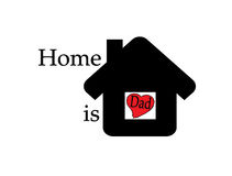 Home is dad. Inside black home on white Background Royalty Free Stock Image