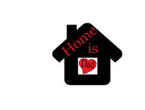 Home is dad. Inside black home on white Background Royalty Free Stock Photos