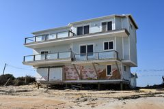 Home damaged in Hurricane Matthew, Vilano Beach, Florida Stock Images