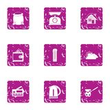 Home day icons set, grunge style. Home day icons set. Grunge set of 9 home day vector icons for web isolated on white background Stock Photo