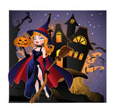 HOME de Halloween com bruxa Foto de Stock Royalty Free