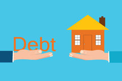 Home and debt font sitting on hand,debt concept. Royalty Free Stock Images