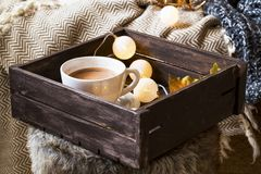 Home deco indoor with wooden tray with hot chocolate cup and lig. Ht bulbs decorations , cozy blanket and fur,cozy winter interior details Royalty Free Stock Images