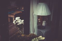 Home deco with white flower and lamp ,retro picture style. Home deco with white flower and lamp ,retro picture style Stock Images