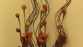 Home Decor Artificial Flowers Brown and Orange with Copy Space for Text. royalty free stock photo
