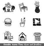 Home decor doodle icon set. Home decor doodle icons for any project royalty free illustration