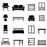 Home decor and furniture icons. Home decor and furniture icon set Stock Images