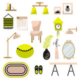Home decor and furniture vector set flat style. Home decor and furniture vector set. Flat style interior illustration. Modern furniture decor elements in royalty free illustration