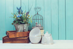Home decor. Objects of home decor on wooden background Royalty Free Stock Photo
