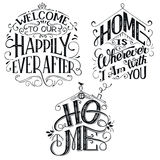 Home decor quotes signs set. Isolated on white background. Hand-lettering, rustic signs stock illustration