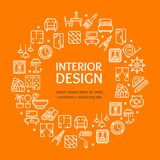 Home Decor Signs Round Design Template Line Icon Concept. Vector. Home Decor Signs Round Design Template White Line Icon Concept on a Orange Background. Vector stock illustration