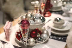 Home decorated christmas dining table Stock Images