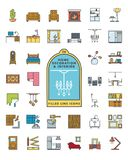 Home decoratin and interior filled line icons vector set stock illustration