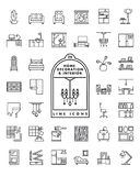 Home decoration and interior line icons vector set vector illustration