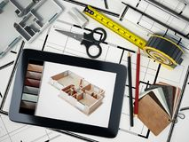 Home decorating tools standing on house bluprints. 3D illustration.  Stock Images