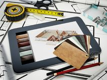 Home decorating tools standing on house bluprints. 3D illustration.  Royalty Free Stock Image