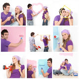 Home decorating, young couple. Young couple in first home decorating, painting drilling Stock Photos