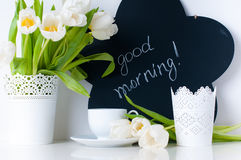 White tulips and chalk board Stock Image