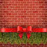 Home decoration outside. Christmas design on the brick wall Stock Photo