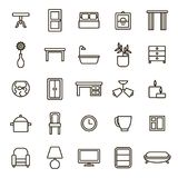 Home Decoration Signs Black Thin Line Icon Set. Vector royalty free illustration