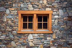 Home Decoration and Window Architecture Exterior Design Against Stone Wall Background, Wallpaper, Texture, Pattern.  stock photography