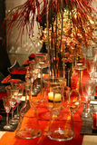 Home Decorations. Stylish seasonal table decorations. Elegant glass and furnitures Royalty Free Stock Photos