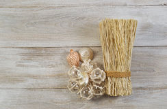 Home Decorations placed on faded wood Royalty Free Stock Photos