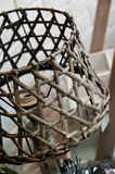 Home decorations rattan lamp shade detail. Home decorations shop detail, a rattan lamp shade on sale stock photo
