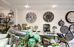 Home decorations shop interior stock photo