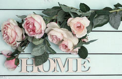 Home decorative word with roses, top view Stock Photo