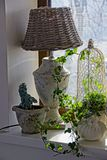Home decors in the room on the sill of the window. Lamp and vases with plants on the windowsill near the transparent window royalty free stock photo
