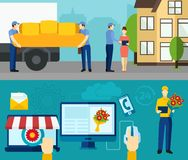 Home delivery service flat banners set Royalty Free Stock Photo
