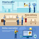 Home delivery service flat banners set Stock Photography