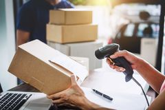 Home delivery service and working service mind, Woman working ba stock photography