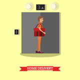 Home delivery vector illustration in flat style Royalty Free Stock Images
