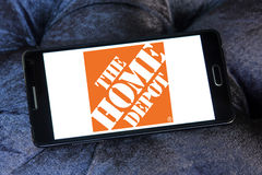The home depot logo. Logo of the home depot on samsung mobile. the home depot is an American home improvement supplies retailing company that sells tools royalty free stock photos